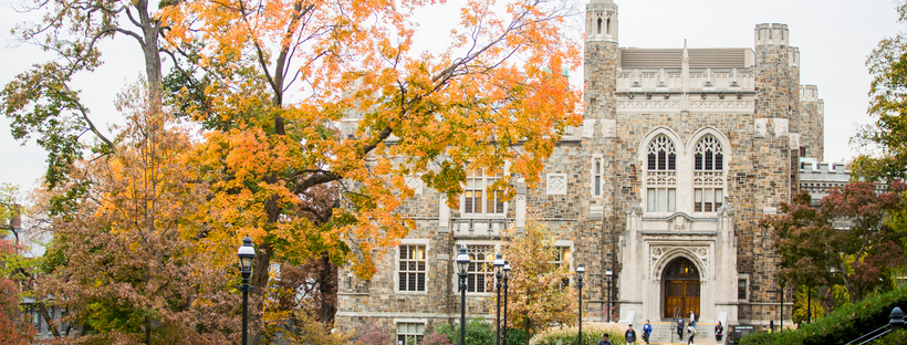 Lehigh's campus in fall with autumn leaves on the trees