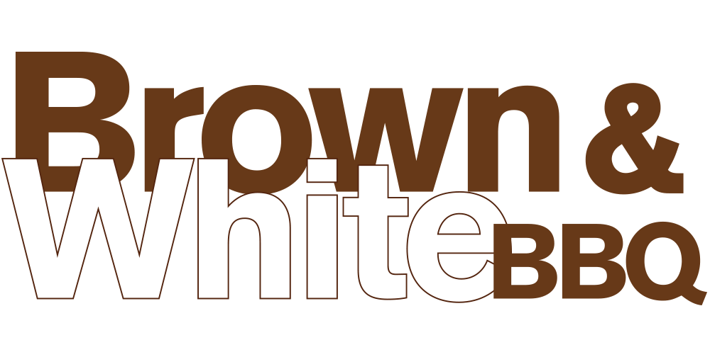 Brown & White BBQ text