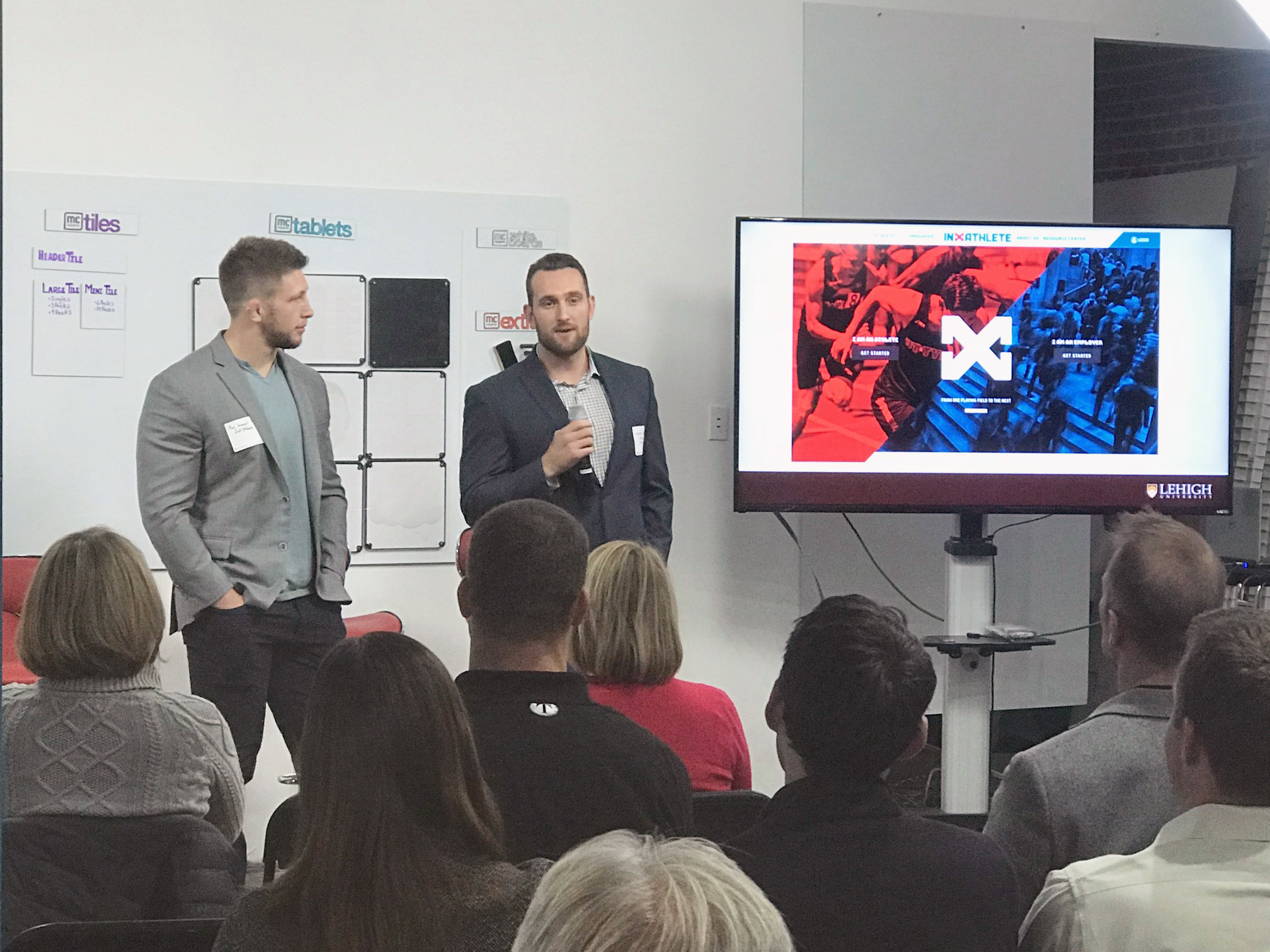 Max Wessell '16 (left) and Cody Ferraro '15 '15G, co-founders of InXAthlete, were among alumni who spoke at Lehigh's Startup Nation, a professional alliance alumni event held in Denver on November 7, 2018.