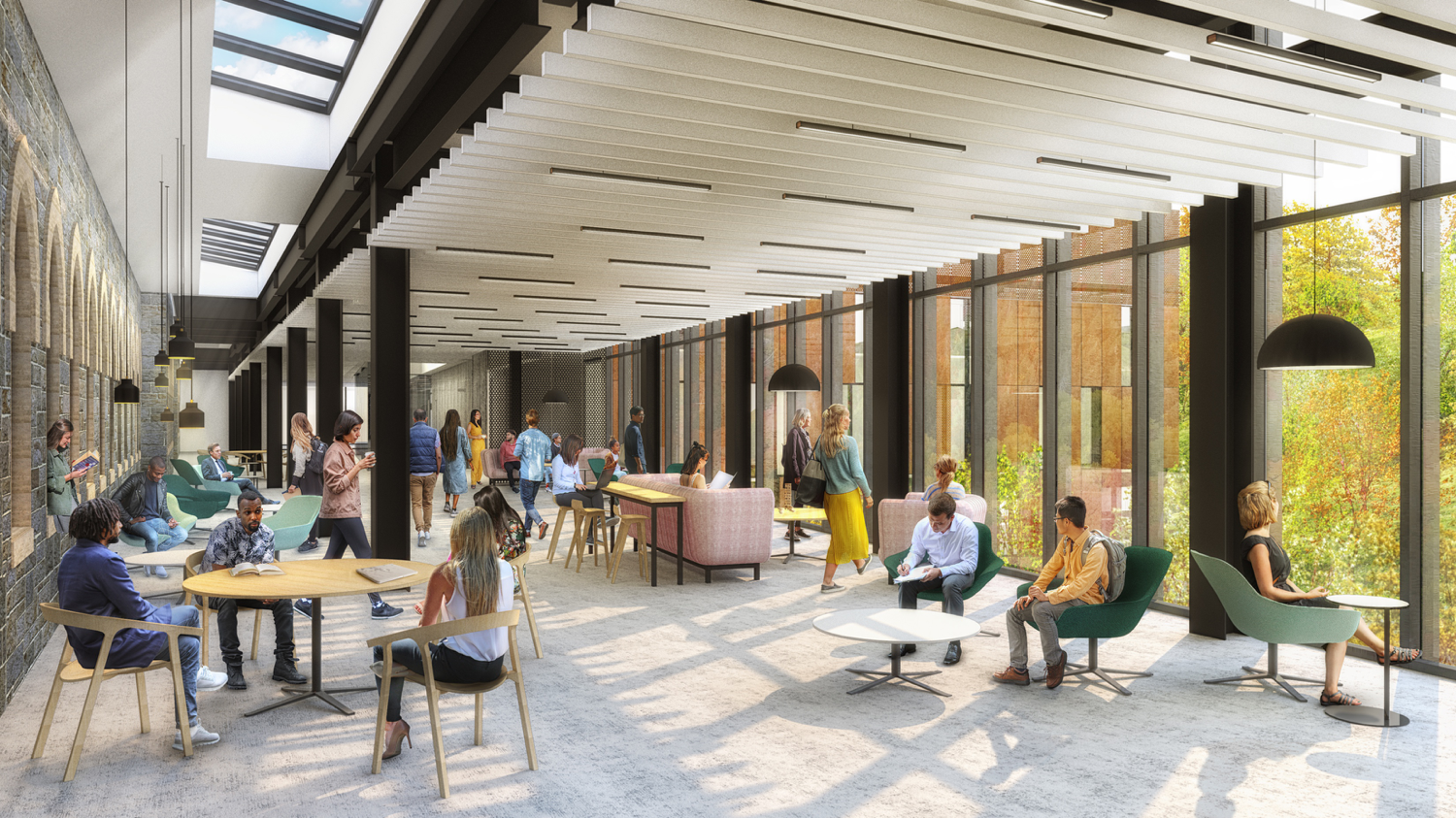 """The Avenue"" will be a large, open-concourse area for students to move through the Clayton University Center at Packer Hall as well as gather to relax or study."